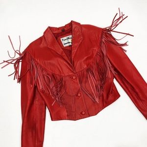 Jackets & Blazers - Vintage Red Leather Fringe Jacket